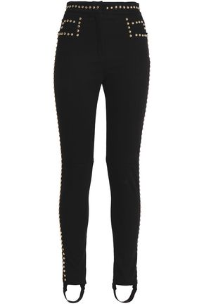 BALMAIN Studded stretch-cotton slim-leg pants