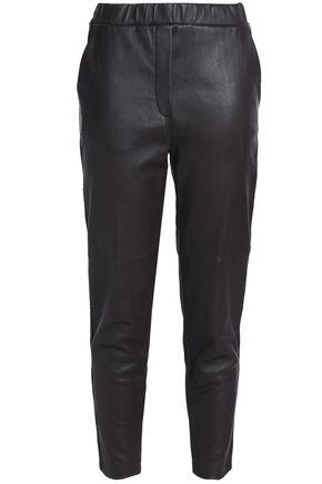 BOTTEGA VENETA Cropped leather slim-leg pants