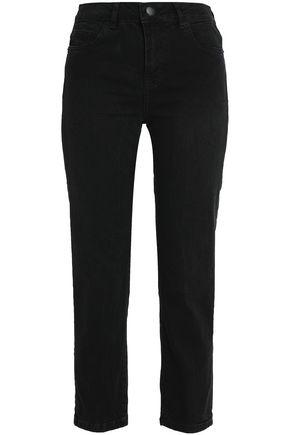 MAJE Cropped mid-rise slim-leg jeans