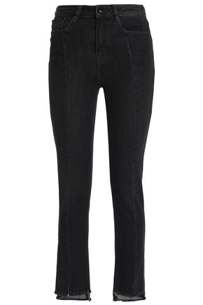 MAJE Frayed high-rise skinny jeans