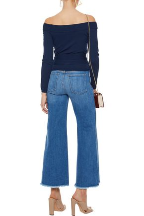 ALICE + OLIVIA Cropped high-rise wide-leg jeans