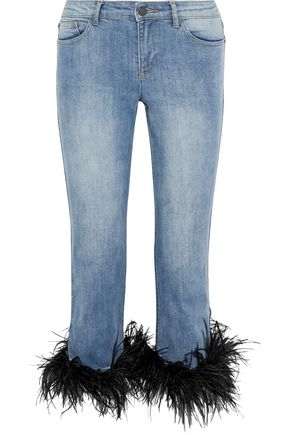 ALICE + OLIVIA Tasha convertible feather-trimmed low-rise straight-leg jeans