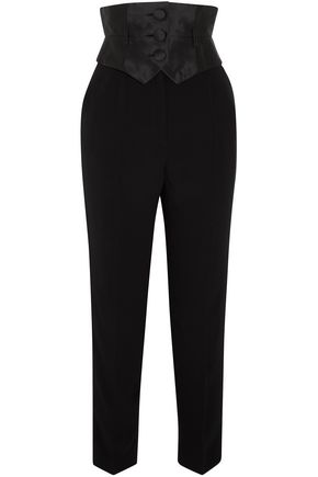 RONALD VAN DER KEMP Silk-paneled crepe tapered pants