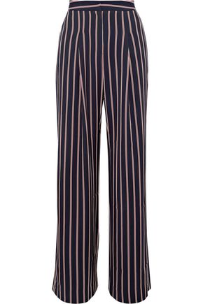 W118 by WALTER BAKER Unique striped twill wide-leg pants
