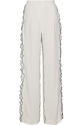DEREK LAM Ruffle-trimmed pleated crepe wide-leg pants