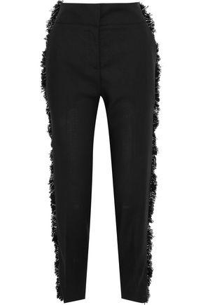 DEREK LAM Frayed wool-blend crepe tapered pants
