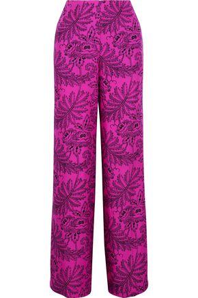 DIANE VON FURSTENBERG Floral-print woven silk wide-leg pants