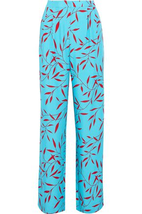 DIANE VON FURSTENBERG Pleated printed woven silk wide-leg pants