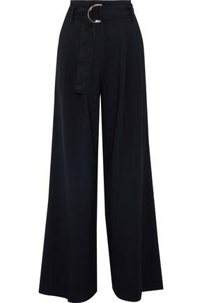 DIANE VON FURSTENBERG Belted pleated wool-blend wide-leg pants