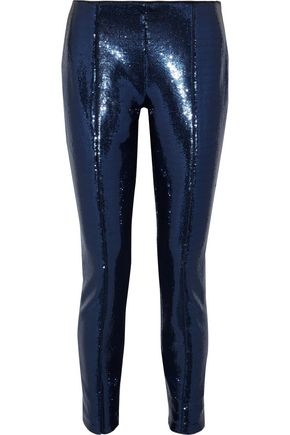 DIANE VON FURSTENBERG Sequined mesh slim-leg pants