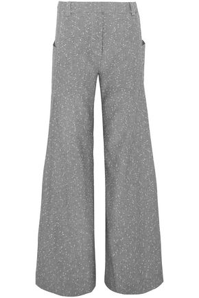 TOPSHOP UNIQUE Embroidered wool-blend wide-leg pants