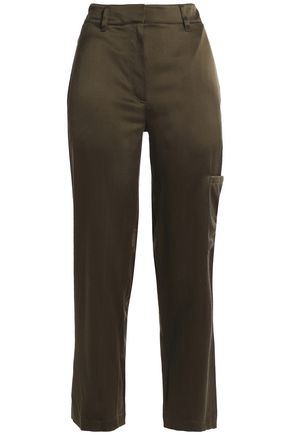 THEORY Silk-satin straight-leg pants