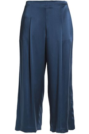 THEORY Pleated silk-satin culottes