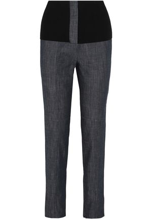 TIBI Ribbed knit-paneled high-rise slim-leg jeans