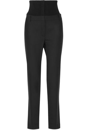 TIBI Ribbed knit-paneled woven straight-leg pants