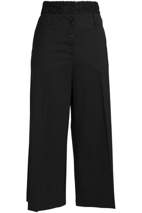 PROENZA SCHOULER Corded lace-trimmed wool-blend twill culottes