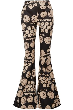 BEAUFILLE Printed cotton-twill flared pants
