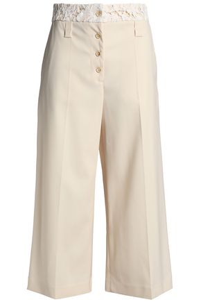 PROENZA SCHOULER Lace-trimmed wool-blend twill wide-leg pants