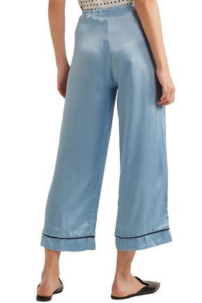 STAUD Cropped satin wide-leg pants