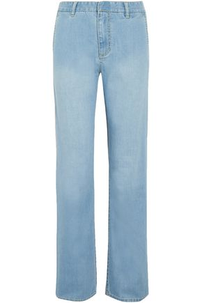 TIBI Faded mid-rise straight-leg jeans
