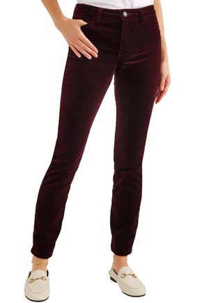 MAJE Cotton-blend velvet skinny pants