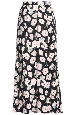 PROENZA SCHOULER Pleated floral-print crepe wide-leg pants