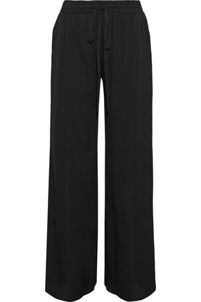 MILLY Stretch-silk wide-leg pants