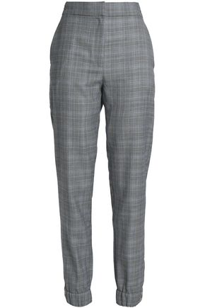 TIBI Prince of Wales checked wool and silk-blend tapered pants