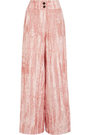 REJINA PYO Crushed-velvet wide-leg pants
