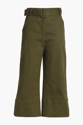 NICHOLAS Belted stretch-cotton twill culottes