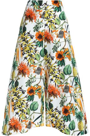 NICHOLAS Printed linen and silk-blend culottes
