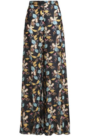 NICHOLAS Printed silk crepe de chine wide-leg pants