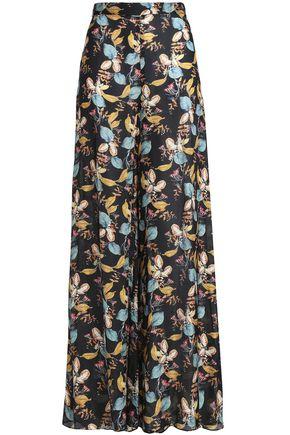 NICHOLAS Printed silk crepe de chine wide-leg pants
