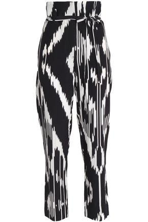 THEORY Printed silk straight-leg pants