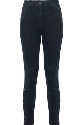 BELSTAFF Button-detailed brushed cotton-blend skinny pants
