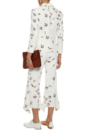 ACNE STUDIOS Tyme cropped floral-print cotton-corduroy flared pants