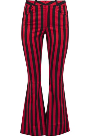 MARQUES' ALMEIDA Striped duchesse-satin kick-flare pants