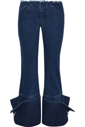 MARQUES' ALMEIDA Ring-detailed frayed low-rise flared jeans