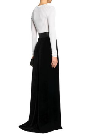 ZUHAIR MURAD Leather-trimmed velvet maxi skirt