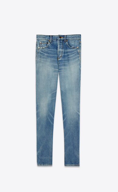 SAINT LAURENT Slim fit Woman light vintage indigo twill slim fit denims a_V4