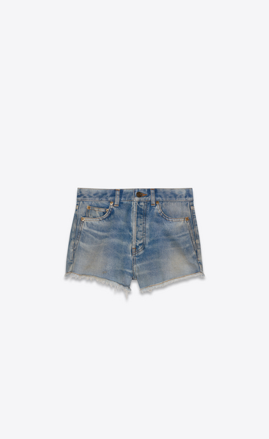 SAINT LAURENT Slim fit Woman light vintage indigo twill denim shorts a_V4