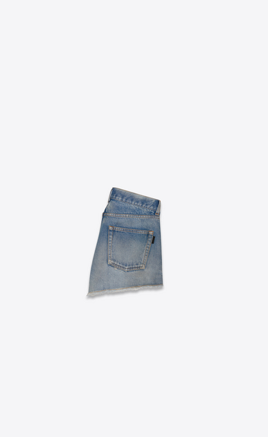 SAINT LAURENT Slim fit Woman light vintage indigo twill denim shorts b_V4