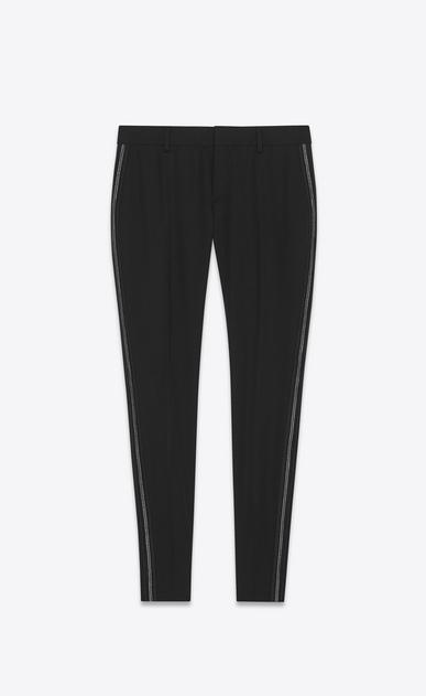 SAINT LAURENT Classic Pant Woman embroidered tux pants in grain de poudre a_V4