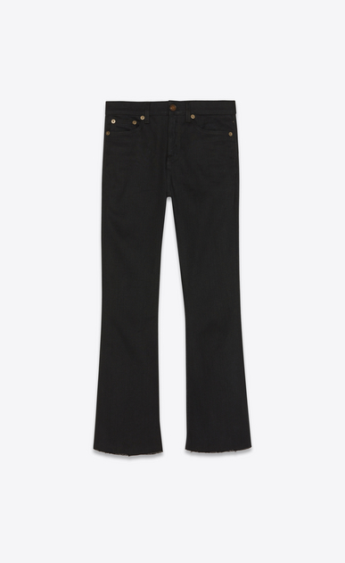 SAINT LAURENT Denim Trousers Woman cropped raw edge bootcut denim pants a_V4