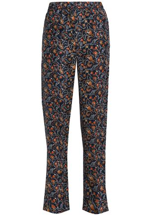 ISABEL MARANT Printed silk straight-leg pants