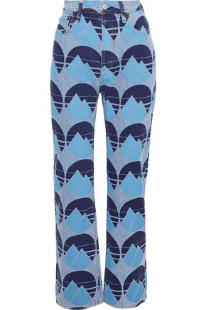 ACNE STUDIOS Log printed high-rise straight-leg jeans