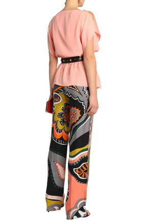 EMILIO PUCCI Printed silk-twill straight-leg pants