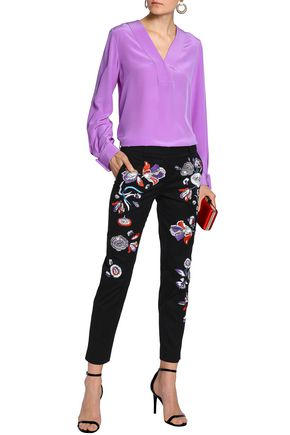 EMILIO PUCCI Embroidered stretch-cotton twill tapered pants