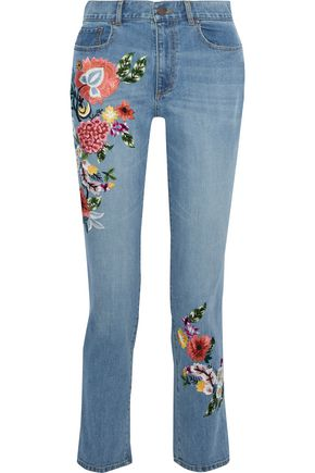 ALICE + OLIVIA JEANS Embroidered high-rise slim-leg jeans