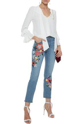 ALICE + OLIVIA Embroidered high-rise slim-leg jeans